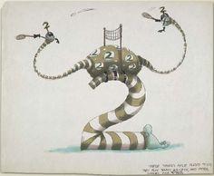 tim burton, art, illustration, mixed media, number series (1982) (ink and marker)