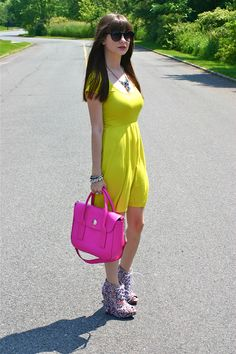 Neon dress and accessories (www.houseofjeffers.com) featuring @Lulus .com and @kate spade new york! #fashionblogger #style #ootd #styleinspiration #neon