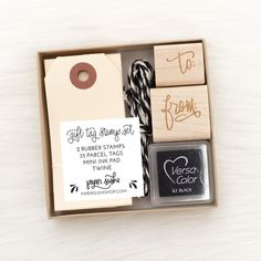"The mini packaging kit includes everything you need to create your own gift tags! Includes: 35 parcel tags measuring 3 mm) by 1 mm) Black and white baker's twine Calligraphy ""to"" and ""from"" rubber stamps Mini black ink pad Computer Font, Sushi Design, Ink Pads, Artist At Work, Gift Baskets, Twine, Gift Tags, Hand Lettering, Create Your Own"