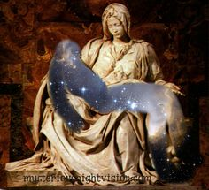 This is the Pieta. I cut Jesus out to let the starry universe shine through as a symbol...