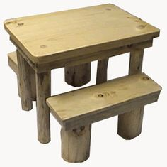 This pine log toddler table and benches  in rustic hand peeled logs is perfect for any childs rustic mountain home bedroom or cabin loft - CLICK FOR LARGER VIEW -