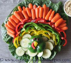 Such a fun way to create a veggie tray...looks just like a turkey!