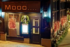 My favorite steakhouse in Boston!  Mooo... decorated for the holidays!