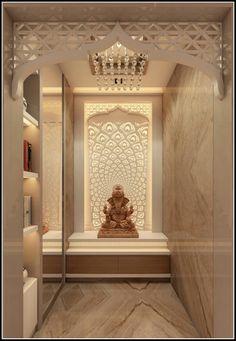 Corian Pooja Room Door Design, Home Room Design, Living Room Designs, Living Room Decor, Temple Design For Home, Indian Home Design, Home Interior, Interior Decorating, Interior Design