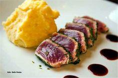 atum sashimi braseado legumes e batata doce -