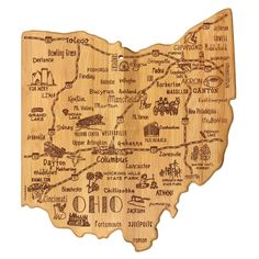 Showcase your state pride with the Totally Bamboo Ohio Cutting/Serving Board. Formed in the shape of your favorite state, this bamboo board is both functional and decorative and great for serving snacks or chopping vegetables on.