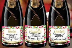 Bespoke Floral BOHEMIAN MINI CHAMPAGNE Label by LabelByLoveArts
