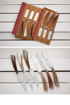 6-PIECE Forged STEAK Knife SET with leather case - The steak knife is one of the toughest test benches, a quality knife should be able to smoothly cut the steak, it must separate the fibers without forcing the diner to make force onto the plate. The blades of these knives are sharpened one by one and assembled with meticulous care, spotting the right veneer or the most valuable flaming within the wood that will form the handle.