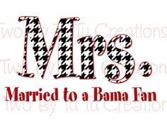 Mr and Mrs Bama Fan DIY Printable Iron on Transfer Honeymoon Bride Mr Mrs Roll Tide Alabama. $5.00, via Etsy.