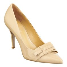 As seen in the December issue of People Style Watch.....Pointy toe pump with bow accent at toe. 3 1/2'' heel.  This style is available exclusively @ Nine West Stores & ninewest.com.