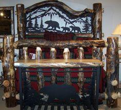 Aspen Estate Log Bed with Bear Cubs Metal Insert Log Furniture, Handmade Furniture, Country Decor, Rustic Decor, Log Homes, Timber Homes, Black Bear Decor, Log Bed, Hunting Cabin