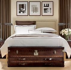 Long steamer trunk for the end of your bed (from Restoration Hardware?) Steamer Trunk - Image from Apartment Therapy White Bedding, Decor, Furniture, Bed, Home, Dreamy Bedrooms, Restoration Hardware Bedding, Home Decor, Upholstered Beds