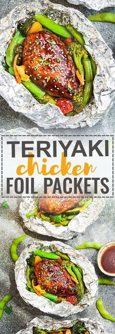 Easy Teriyaki Chicken Foil Packets with Vegetables -. A complete meal with practically no clean up and full of your favorite sweet and savory Asian-inspired meal with tender chicken, edamame, broccoli, pineapple and red bell pepper. Tin Foil Dinners, Foil Packet Dinners, Foil Pack Meals, Foil Packet Recipes, Hobo Dinners, Healthy Teriyaki Chicken, Asian Chicken, Healthy Eating Tips, Healthy Recipes