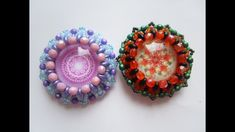 Obšitý kabošon 25mm - superduo / Beaded cabochon 25mm - superduo