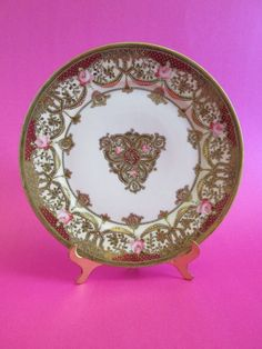 "Antique Royal Crockery Noritake Nippon Plate Gold Gilt Moriage Pink Roses 8.75""D"