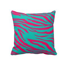 Hot Pink Teal Zebra Print Couch Throw Pillow
