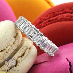 4.75ct Emerald Cut Diamond Eternity Band in 18k White Gold SKU: 3766-1