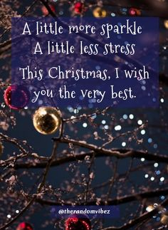 A little more sparkle A little less stress This Christmas, I wish you the very best. Christmas Wishes For Family, Christmas Quotes Images, Christmas Eve Quotes, Christmas Captions, Christmas Slogans, Christmas Phrases, Merry Christmas Images, Merry Christmas And Happy New Year, Christmas Pictures