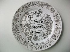 Hand drawn wall plate 'Home Sweet Home' by Boopino