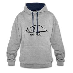 Geschenke Shop | Cat not today 002 - Kontrast-Hoodie Shirt Diy, Shops, Hoodies, Sweatshirts, Sweaters, Fashion, Gifts For Cats, Ideas, Moda