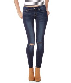Destroyed Dark Wash Jegging - Aeropostale: need some new jeans now that i can wear ripped ones to class