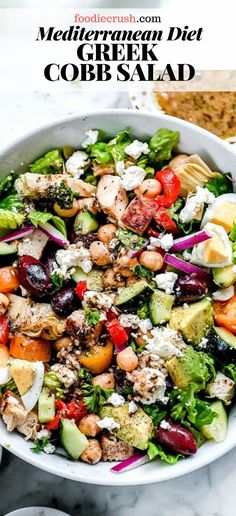 This Cobb salad loads all of my favorite Mediterranean salad ingredients plus the best Greek marinated chicken into one savage healthy meal in one big bowl. Mediterranean Diet Meal Plan, Mediterranean Dishes, Cobb Salad, Jar Salad, Caesar Salad, Pasta Salad, Greek Marinated Chicken, Salad With Chicken, Risotto