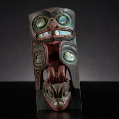 Tlingit Polychrome Frontlet From the US Children's Museum on the 19th Century painted in red, blue, and black; carved depicting a hawk ontop of a frog's head; abalone shell insets, length 7 in. x width 3 in. 1870s - 4/10/2015 - American Indian and Western Art: Live Salesroom Auction