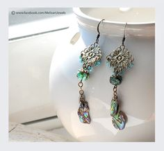 Turquoise and blue  artisan earrings with abalone paua,  czech glass  bead and antique brass filigree. Boho chic bohemian jewelry. on Etsy, $26.90