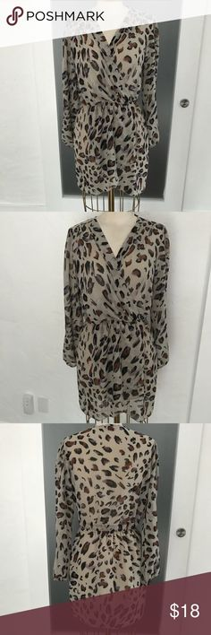 {F21 love} tan sheer leopard dress! Forever 21 love tan sheer long sleeve dress! Size medium. Excellent conditon! Bottom is lined. Waist is flat and can stretch up to 17 in. Length is 34 in. Bundle and save! Forever 21 Dresses
