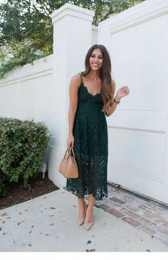 34 Beautiful Spring Wedding Guest Dress Ideas Satin Bateau Neckline A-line Mother Of The Bride Dresses With Lace Appliques Green Lace Dresses, Women's Dresses, Dress Outfits, Summer Dresses, Midi Dress Outfit, Rock Outfits, Couple Outfits, Party Outfits, Edgy Outfits
