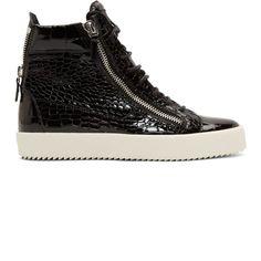 Giuseppe Zanotti Black Patent Croc-Embossed London High-Top Sneakers
