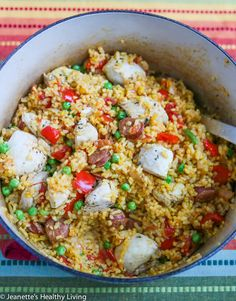 One Pot Chicken Chorizo Paella  |  So delicious and flavorful and all cooked in one pot!  |  http://jeanetteshealthyliving.com