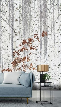 Feel like you're in nature all the time with this custom-made White Woodland Days wallpaper. FREE UK delivery within 2 to 4 working days. Tree Wallpaper Mural, Room Wallpaper, Burnt Orange Paint, Birch Forest, Nordic Living, Wall Ideas, Designer Wallpaper, Home Decor Inspiration, Wall Murals