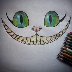 """""""No estoy loco. Mi realidad es diferente a la tuya."""" Gato Sonriente.. #drawing #color #draw #art #dibujo #gato #cat #sonriente #Peace #eyes #ojos #colors #colores #movie #arte #loveart"""