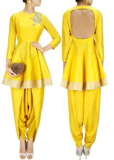 SONALI GUPTA yellow cotton silk short flared kurta with hand dabka embroidrery on shoulder and gold border hem. It comes along with yellow cotton silk dhoti pants. Salwar Designs, Blouse Designs, Western Dresses, Indian Dresses, Indian Outfits, Indian Clothes, Bollywood Outfits, Bollywood Fashion, Bollywood Dress