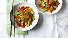 "This low-calorie, stir-fried pork is quick and easy while still delivering on flavour, and helping you on your way to getting five a day. As part of an <a href=""http://www.bbc.co.uk/food/collections/intermittent_dieting_recipes"">Intermittent diet</a> plan, 1 serving provides: Your daily salty food 3 of your 5 daily vegetable portions This meal provides 250 kcal per portion."