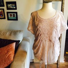 Gimmicks by Bke lace top Gathered soft lace looking top by buckle. Tag says s/m depends how tight you want. I'd say if your a zero this might be too big. BKE Tops Blouses