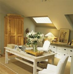Charming Window Attic Spaces, Attic Rooms, Attic House, Attic Office, Home Office,