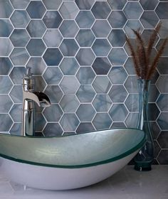 Create an Ocean Spa Atmosphere with our Ocean Glass Hexagon Blue Mosaic Tile for a Serene Bathroom Design Hexagon Tile Bathroom, Glass Tile Bathroom, Blue Glass Tile, Serene Bathroom, Hexagon Mosaic Tile, Blue Tiles, Glass Mosaic Tiles, Hexagon Pattern, Hexagon Shape