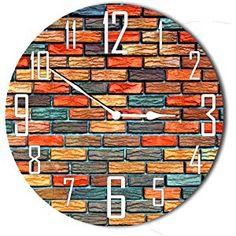 12f0ea02a Studio Shubham Brick Texture Colorful Wooden Wall Clock(29cm x 29cm x 3cm)  Brick