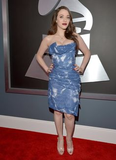 Kat Dennings went for the va-va-voom effect in a dazzling Vivienne Westwood strapless dress.