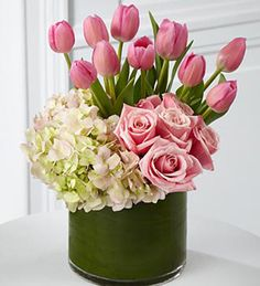 Tulips, roses and Hydrangia