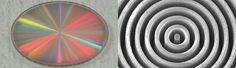 """La máscara de vórtice mostrada la izquierda está hecha de diamante sintético. Observada con un microscopio electrónico de barrido (derecha) resulta evidente la microestructura con forma de """"vórtice"""" de la máscara. Crédito: University of Liège/Uppsala University. El instrumento, llamado coronógrafo de vórtice, fue instalado recientemente dentro de NIRC2 (Cámara del Infrarrojo Cercano 2), la cámara principal  de imágenes en el infrarrojo del Keck."""