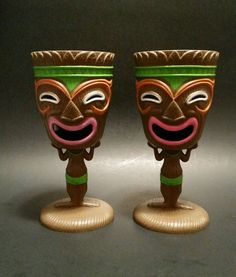 Tiki Goblets Idol Face Plastic Luau Party Cups Hawaiian Wine Glasses Set of 2  #Greenbrier #PartyLuau