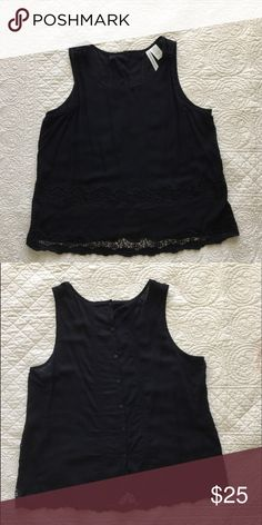 "💥 SALE 💥 Black top with lace and embroidery Forgotten Grace. Only worn once. Lightweight and summery woven top. Pretty button down back with pin tuck detail. 21"" across. Bust, 24"" back length from shoulder. 100% rayon. ( I also have the same top in turquoise) Forgotten Grace Tops Tank Tops"