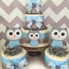 Set of 3 Owl Diaper Cake Centerpieces in Blue and Gray Owl