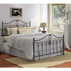 @Overstock.com - Featuring a durable metal construction and a sleek black finish, this stylish Rebecca queen-size bed is sure to add a touch of sophistication to your bedroom's decor. This metal bed includes a headboard, footboard, side rails and slats.http://www.overstock.com/Home-Garden/Rebecca-Metal-Queen-size-Bed/7356998/product.html?CID=214117 $280.99