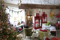 what I like is the wispy fir garland at window and maybe pennant banner made with retro Christmas scrap paper