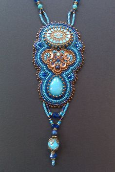 Peruvian Blue Necklace art nouveau art deco style bead work embroidery on Etsy, $125.00