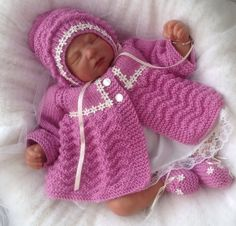 Hand Knitted Baby Girls Matinee Set -  Raspberry - 0-3 Months £25.00